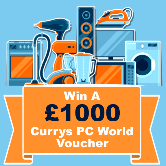 various appliances for the offer to win a £1000 Currys PC World Voucher 24th April
